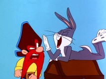 "Buccaneer Sam is none too pleased to find Bugs Bunny atop this treasure chest in ""From Hare to Eternity."""