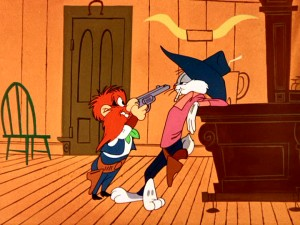 "Guns and cigarettes used to be cartoon staples, as Yosemite Sam and Bugs illustrate in their ""Wild and Woolly Hare"" saloon standoff."