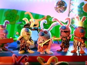 Bunnytown rocks out to the Bunnytown Hop in the middle of most episodes.