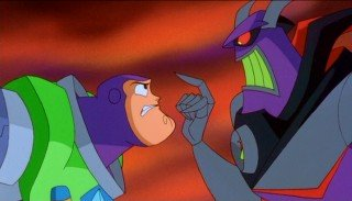 Buzz faces off with Zurg. Good, evil, you know the drill.
