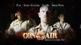 """Con Air""'s animated 16x9 menu cycles through various scenes and montages from the film."
