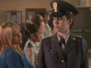 "But things will change when she transfers to a military academy and must answer to the unrelenting Cadet Captain Jennifer Stone (Christy Carlson Romano of ""Even Stevens"")."