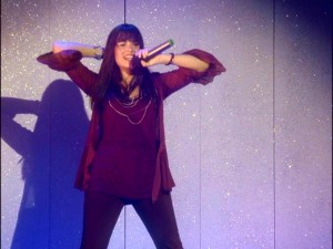 Mitchie cuts loose for her closing concert number.