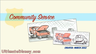 "The title screen for the deleted scene ""Community Service"", as seen on the ""Cars "" DVD."