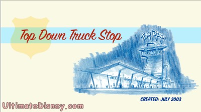 "The title screen for the deleted scene ""Top Down Truck Stop"", as seen on the ""Cars "" DVD."