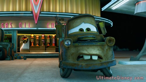 "Mater looks frightened in ""Mater and the Ghostlight"", an all-new short premiering on the ""Cars"" DVD."
