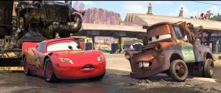 "Mater the rusty but endearing tow truck introduces Lightning to ""Bessie"", the race car's companion in road repair community service."