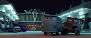 Ramone, Fillmore, and Sarge choose Flo's V8 Cafe as a a site to pass the abundance of time that sleepy Radiator Springs affords them.