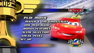 "The Main Menu for the one and only ""Cars"" disc. What could that intermittently-appearing Dinoco logo lead to?!"
