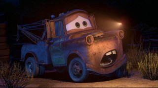 "Mater takes momentary comfort in the discovery that he's in the midst of nothing but a lightning bug (the flying Volkswagen kind) in ""Mater and the Ghost Light."""
