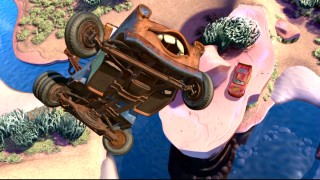 "We see Mater's rusty underbelly as the tow truck soars to show Lightning what's called the bound in ""Boundin' Cars."""