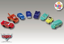 "A promotional pic of all eight McDonald's Happy Meals ""Cars"" cars."