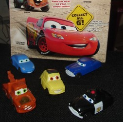 "The Kellogg's ""Cars"" cars appear in front of a specially-marked box, which offers the only sign of Lightning!"