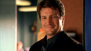 Richard Castle (Nathan Fillion) flashes a fairly smug smile upon being granted practically unfettered access to New York City's homicide investigations.