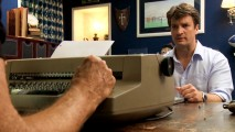 "Hoping to become a writer, Nathan Fillion looks to Cannell and his typewriter-pecking hands for inspiration in the humorous ""Write-Along."""