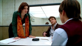 Castle sits back and watches Beckett step into a Kyra Sedgwick pose while interrogating a prep school student.