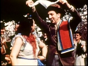 "A sarape-clad Walt Disney gets into the Latin spirit and dances with a senorita in ""South of the Border with Disney."""