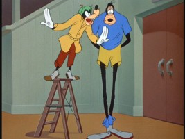 "Coach Goofy advises tall, lanky-legged Goofy in ""Double Dribble."""