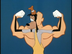 "Despite his efforts, Goofy doesn't quite measure up in ""Goofy Gymnastics."""