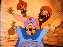 "These three goofy marketplace dwellers from ""The Small One"" sing ""We Work A Little Harder if We Must."""