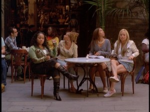 Their first day in Barcelona, the Cheetah Girls try not to look like tourists, yet can't help staring at all the sites around them.