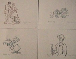 Four of the eight character sketches, created by animators Ollie Johnston and Andreas Deja.