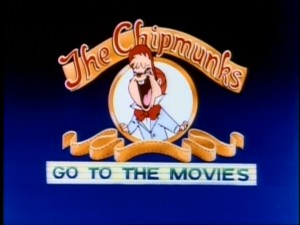 "Alvin imitates the MGM lion in the title logo for the 8th season/1990 series ""The Chipmunks Go to the Movies."""