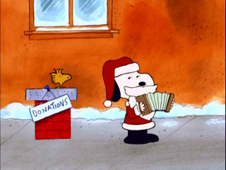"After hearing someone complain about ""Oh! Susanna"", Snoopy Claus uses his accordion for something more seasonal, playing Vince Guaraldi's delightful ""Christmas Time is Here."""