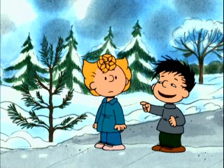 "This unidentified ""ugly"" kid claims Sally can have this Christmas tree if it falls down on its own. When it does, he's not so good to his word."