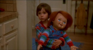 Despite the glum look, Andy (Alex Vincent) is actually quite thrilled by the company of his new Good Guy buddy, Chucky.