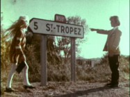 Adrian Hall points to the St. Tropez sign for Heather Ripley before they embark on an unsupervised journey to the city.