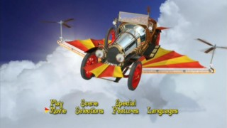 The DVD's main menu features an unpiloted CG Chitty flying throughout the clouds on a sunny day.