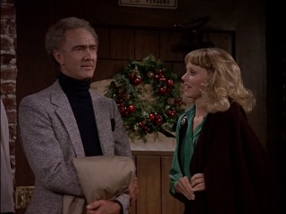 Diane (Shelley Long) feels guilty for not indulging in the spy roleplay of tale-telling patron (Ellis Rabb) as the wreath on Cheers' door oozes the holiday spirit.