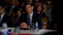 "Warren Keaton (Peter Coyote of ""E.T.""), candidate for the vice presidency, endures confirmation hearings in ""First Scandal."""