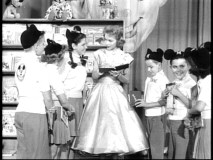 Helene Stanley is happy to sign autographs for the star-struck Mouseketeers.