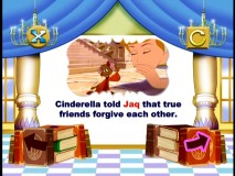 Subtle lessons regarding friendship and forgiveness are found in the stimulating Cinderella DVD storybook.