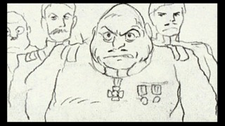 Par for the course, Disc 2's only bonus feature is the entire film as planned out in Hayao Miyazaki's rough storyboards. As he often does, the movie's bulky General scowls here.
