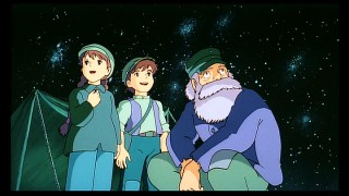 Sheeta, Pazu, and Uncle Pom (voiced by Richard Dysart) do a little bit of happy star-gazing.