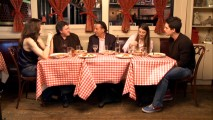 "From left to right, Julianna Margulies, writer/director Raymond De Felitta, Andy Garcia, Dominik Garcia-Lorido, and Steven Strait dine and reflect in ""Dinner with the Rizzos."""