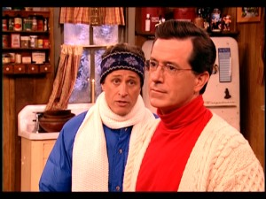 "With Christmas looking like a bust, Jon Stewart asks his pal Stephen Colbert, ""Can I interest you in Hanukkah?"""