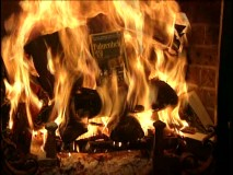 If you can make out the title of the book being burned in the Book-Burning Video Yule Log, you'll probably appreciate the irony.