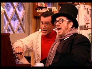"Stephen Colbert and Elvis Costello close the program with a duet of a sweet song titled ""There Are Much Worse Things to Believe In."""