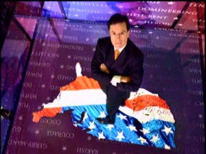 The Colbert Report's high-tech opening places host Stephen Colbert on a flag-filled outline of the United States, while all kinds of nouns and adjectives float around him.