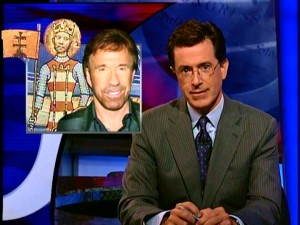 "It's not your typical news show that finds Chuck Norris and St. Istv�n sharing an over-the-shoulder graphic. ""It seems that the hirsute action star has tallied three times more votes than Hungary's first king"" in an Internet poll to name a bridge over the Danube River."
