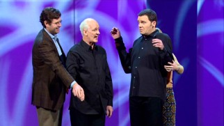 "A couple puppeteers Colin Mochrie and Brad Sherwood as they play Belgian neighbors discussing chicken in the opening bit of ""Colin & Brad: Two Man Group."""