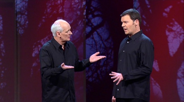 "Colin Mochrie and Brad Sherwood replace S's with K's, dabble in double entendre, and speak only in questions in their penultimate ""Two Man Group"" routine."