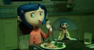 More bothered by the disgusting dinner than enamored with the doll of herself, Coraline Jones (voiced by Dakota Fanning) is not happy with life in Oregon.