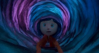 Crawling down this swirling blue and purple passageway leads Coraline to an upbeat and fantastic parallel world.