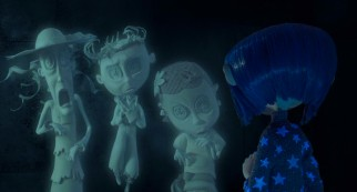 Coraline gets a new perspective on her dream world from these three ghostly button-eyed kids.