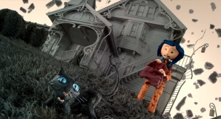 Coraline and her feline friend (Keith David) take notice as the graying world around them crumbles.